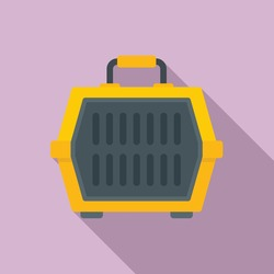 Dog travel cage icon. Flat illustration of dog travel cage vector icon for web design