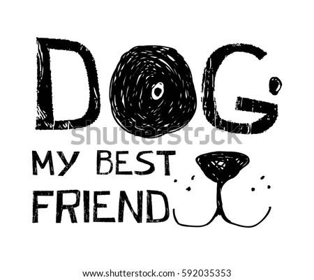 dog typography illustration vector.