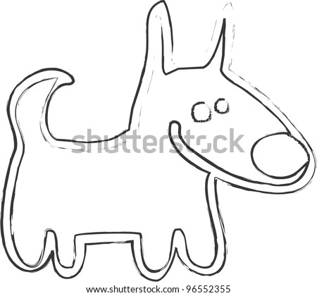 dog vector black and white sketch