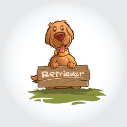 Dog Vector Cartoon Illustration. Mascot cartoon characters of dogs standing with wooden boards.