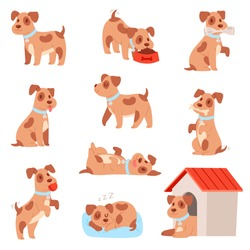 Dog vector little doggie puppy animal character playing or sleeping illustration animalistic doggy set of small doggish canine isolated on white background