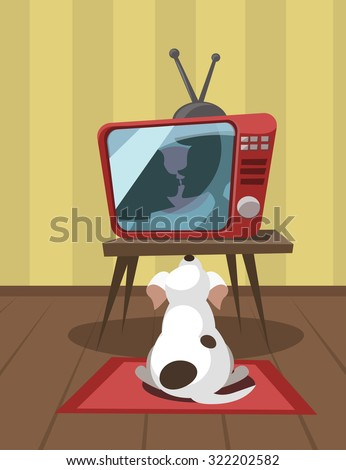 dog watching tv vector