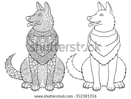 Dog Wearing Bandana With High Details Adult Antistress Or Children Coloring Page Hand Drawn
