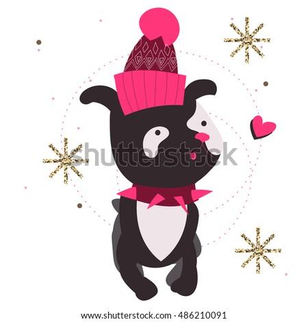 dog wearing fashion winter hat