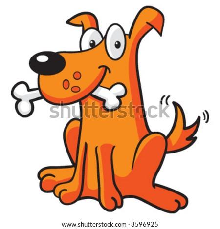 Dog with Bone - stock vector