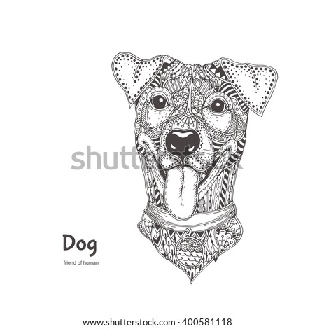 dog with ethnic floral doodle