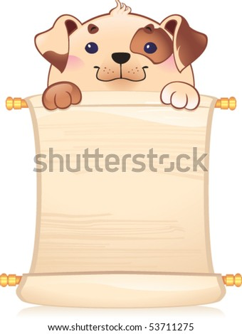 Dog with scroll