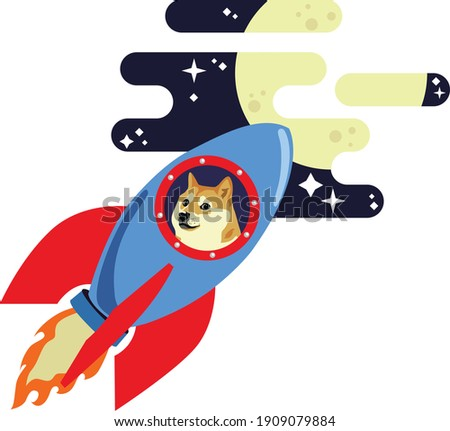 dogecoin dog riding rocket to