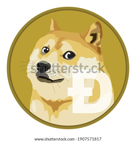 Dogecoin DOGE cryptocurrency isolated on white background, Face of the Shiba Inu dog on coin, Symbol digital currency, Vector illustration