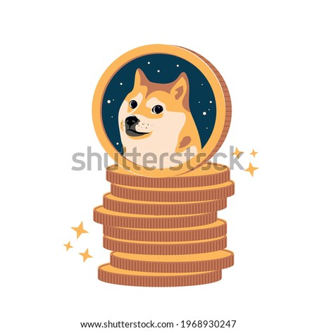 Dogecoin DOGE cryptocurrency on a stack of coins vector illustration isolated on white background. Stock crypto. Face of the Shiba Inu dog in space on coin. Symbol digital currency.