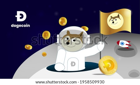 Dogecoin to the moon is gme stock in cryptocurrency market like a blockchain digital exchange in the future. The banner has a Shiba inu on the spaceship took dogecoins to the moon with a golden flag