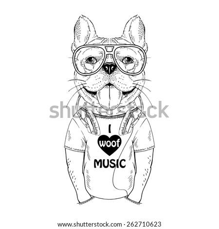 doggy with earphones  music