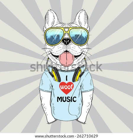 doggy with earphones  music