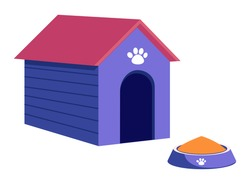 Doghouse with paw print and bowl with canine food isolated objects in cartoon style. Vector illustration of kennel house and plate with puppies meal, pet owners care, paw footprint on blue home