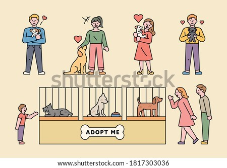 Dogs adopting dogs from abandoned dog shelters and new families. flat design style minimal vector illustration.