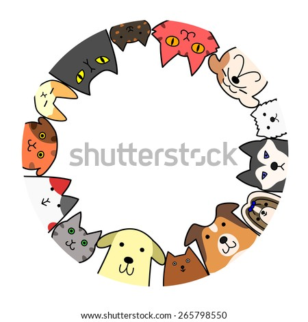 dogs and cats circle with copy