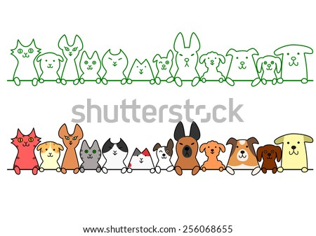 dogs and cats in a row with copy space