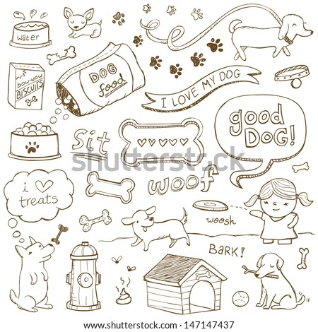 5b2c45bdab91 Dogs and dog accessories illustrated in a doodled style.