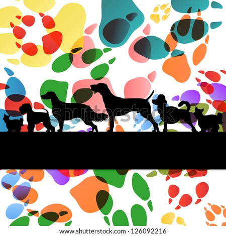 Dogs and dog footprints silhouettes colorful illustration background vector