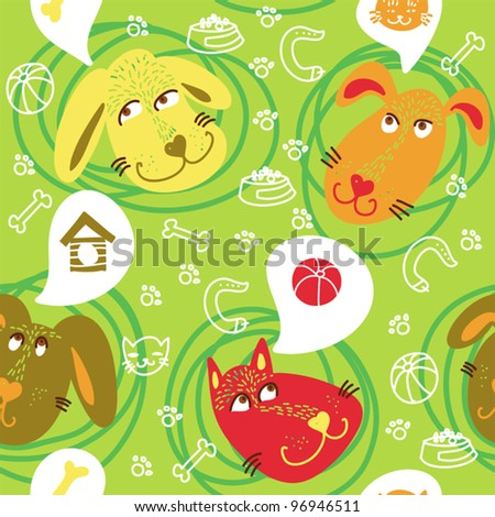 stock vector : Dogs And Dreams Seamless Pattern.