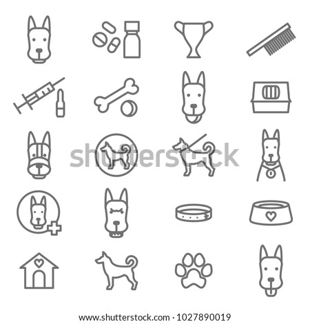 Dogs and Puppy Black Thin Line Icon Set Include of Bone, Food Bowl, Toy, Paw, Veterinary, Collar and Expression. Vector illustration