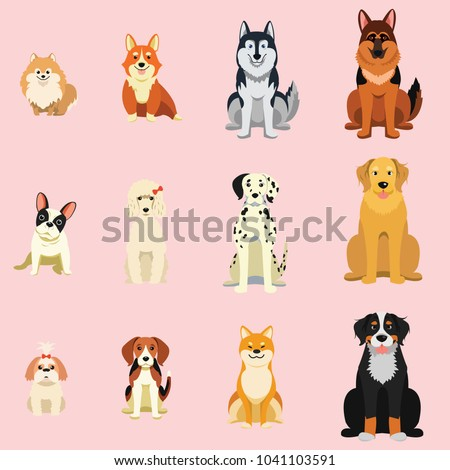 dogs  breed as icon cartoon...