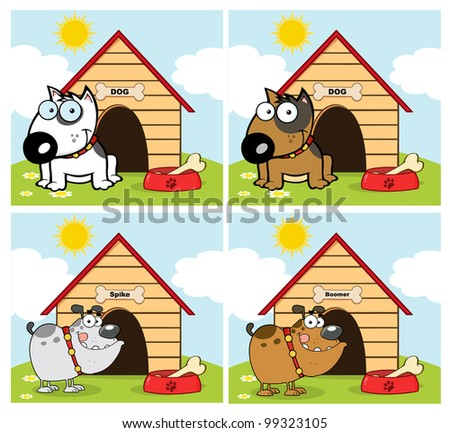 Dogs Different Breed In Front Of His Dog House. Vector Collection