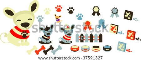 Dogs icons set, pets & accessory. Happy chihuahua puppy - stock vector
