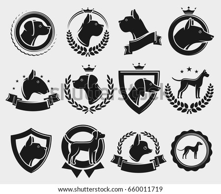 Dogs labels and elements set. Vector