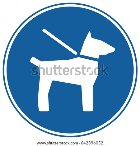Dogs On Leash Sign Blue. Vector.