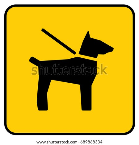 Dogs On Leash Sign Yellow. Vector.