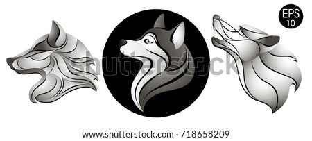 dogs set dog head logo new