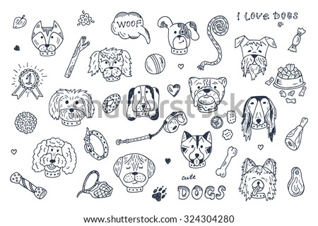 dogs vector set dogs faces