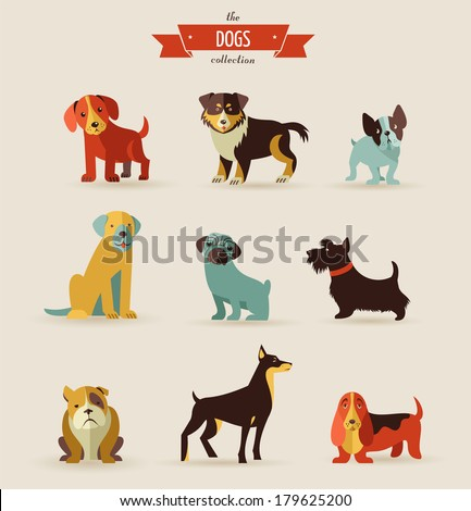 dogs vector set of icons and