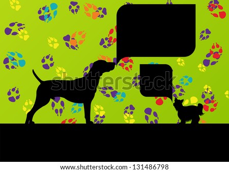 Dogs with speech bubbles and dog footprints silhouettes colorful illustration background vector