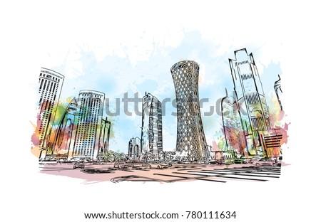 Doha City skyline, Qatar. Watercolor splash with hand drawn sketch in vector illustration.