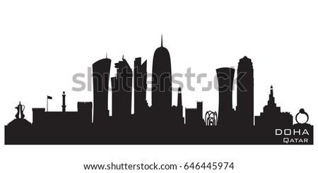 doha qatar skyline detailed