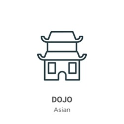 Dojo outline vector icon. Thin line black dojo icon, flat vector simple element illustration from editable asian concept isolated on white background