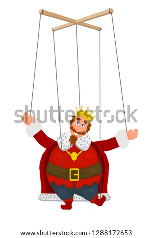 Doll marionette king in a golden crown on a white background. Element of children's puppet theater. Child's toy, theatrical doll. Vector illustration Stockfoto ©
