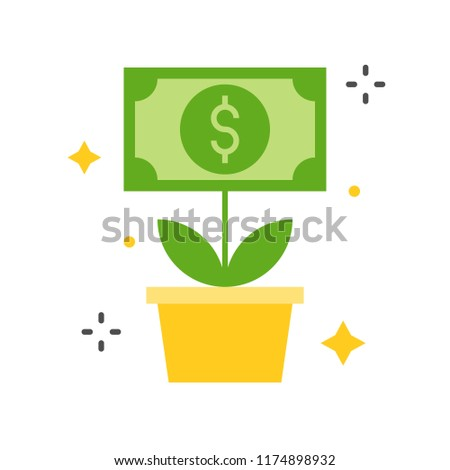 dolla bill tree icon, business and investment concept