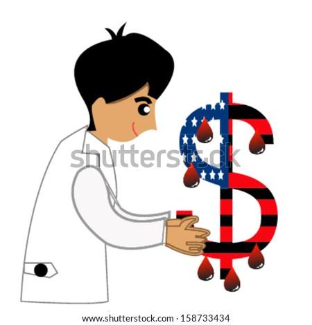dollar and doctor illustration design over white