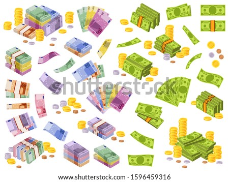 Dollar and euro banknotes. Isometric cash money, various currencies dollars and euros bundles and coins 3d financial awards vector different currency investment payment set