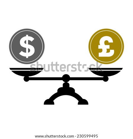 Dollar and pound scales, vector illustration