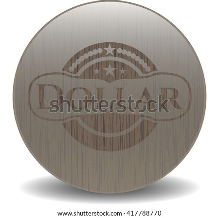 Dollar badge with wooden background