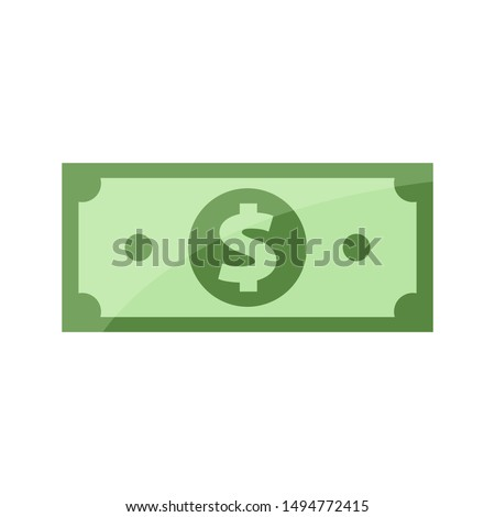 dollar banknote for clip art, banknotes money isolated on white, banknote dollar money icon, bank note for symbol infographics, dollar money for flat illustration