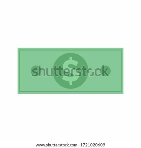 Dollar banknote, U.S currency money symbols. Flat dollar money illustration. Green color vector dollar sign banknote.