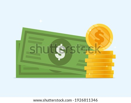Dollar banknotes and coins. Money icon, bank note for symbol infographics, dollar money, vector flat illustration