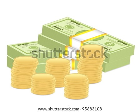 Dollar banknotes pack and coins on white background. Vector illustration. - stock vector