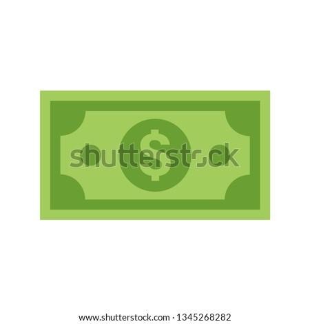Dollar bill vector icon, flat illustration.