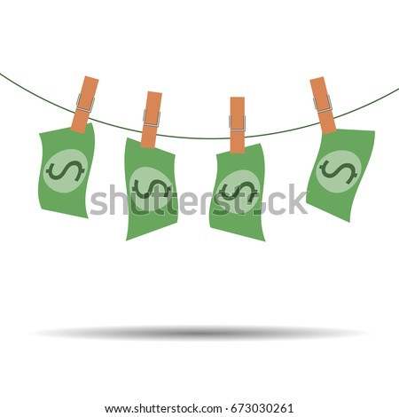 Dollar bills hanging on rope attached with clothes pins. Money-laundering concept illustration of finance and business